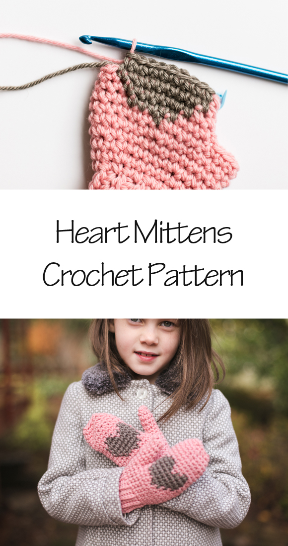 heart mittens crochet pattern
