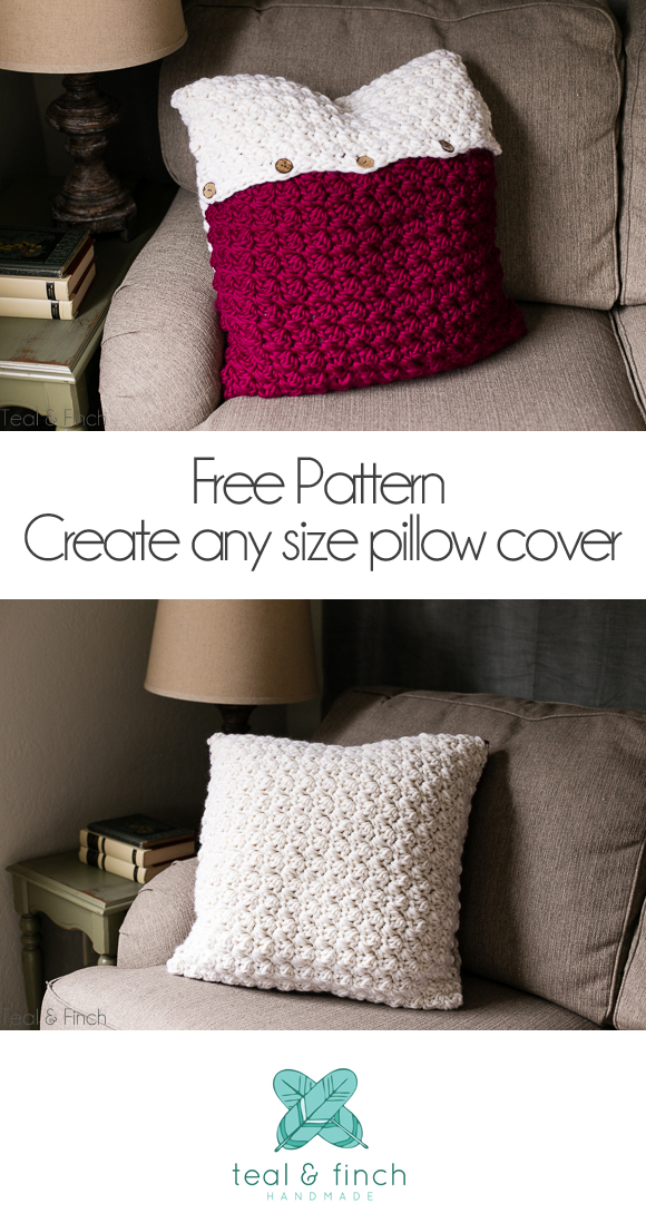 Crochet Pillow Cover Free Pattern - Teal & Finch