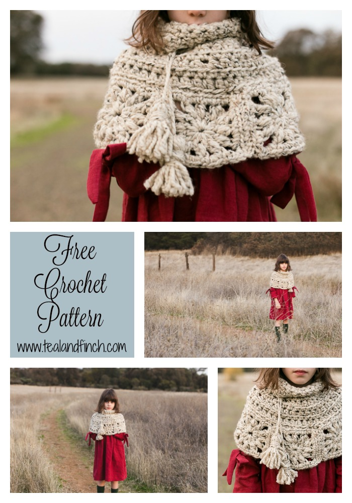 Granny Square Capelet Free Crochet Pattern Teal Finch